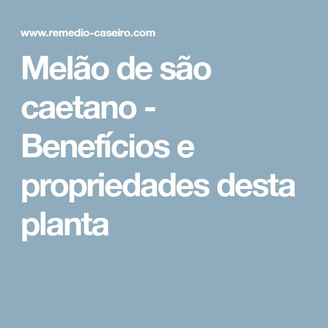 Melão de são caetano - Benefícios e propriedades desta planta