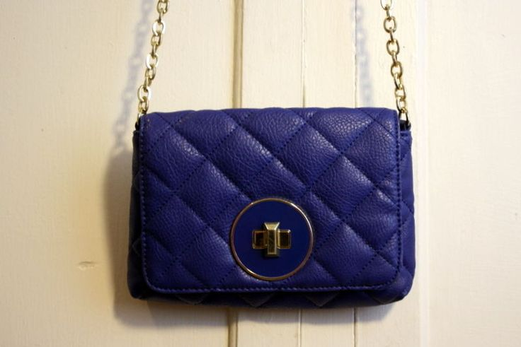 A beautiful Banana Republic Small Quilted Purse. Cobalt Blue With long Gold Chain. Small inside pocket - non zip. Could be Cross over depending on body type.   eBay!