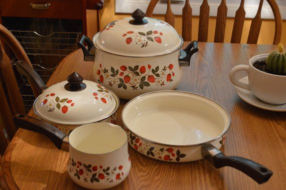 SHEFFIELD STRAWBERRIES and CREAM pots pans by KNIGHTLYTREASURES