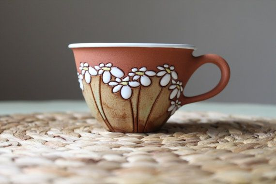 Cappuccino cup with daisies / flowers motif by TerrysPotteryShop, $26.00