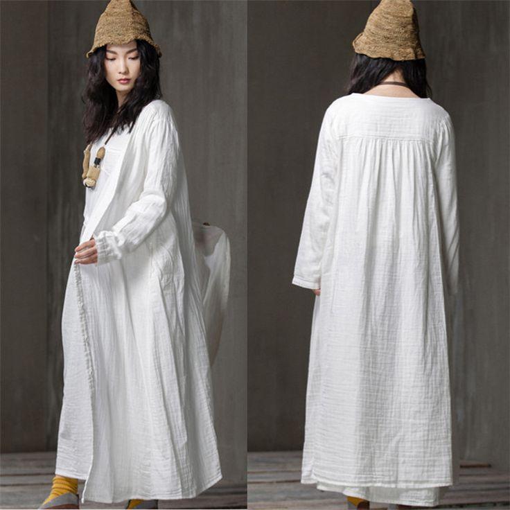 Women loose cardigan solid color cotton shirt