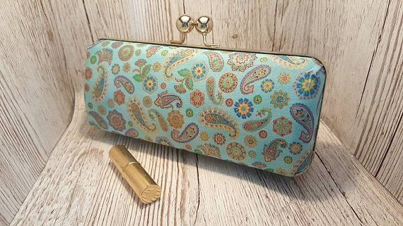 SALE Teal and gold large clutch bag handbag prom wedding