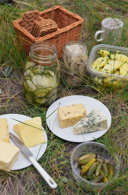 This Scandinavian-inspired Midsummer picnic spread features an assortment of Norwegian, Swedish, and Danish cheeses along with a cucumber salad (recipe at Outside Oslo), salmon, cucumbers, and some other tasty treats. | Read more at Outside Oslo.
