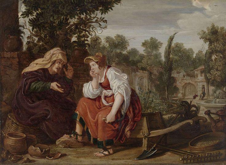 Jan Tengnagel | Vertumnus and Pomona, Jan Tengnagel, 1617 | Vertumnus en Pomona. In een tuin zitten Vertumnus en Pomona met elkaar in gesprek; de oude vrouw spreekt en maakt handgebaren. De jonge vrouw zit luisterend op een kruiwagen met een sikkel in de hand, rechts tuingereedschap (gieter, hark, spade, zeef).
