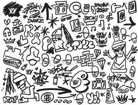 Descargar - Rap music, hip-hop, graffiti iconos conjunto — Ilustración de stock #73619537