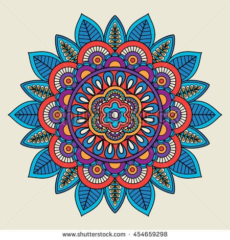 Round floral bright colored motif. Vector illustration