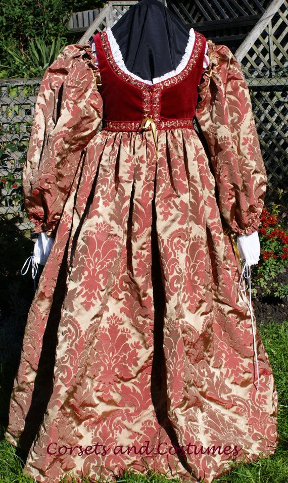 Italian Renaissance Gown with Full Sleeves Lucrezia Borgia Dress 16th Century Clothing for Romeo and Juliet  Historical Reenactment