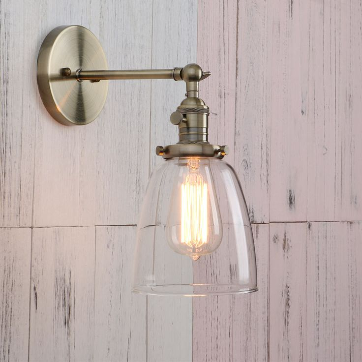 Big Sale!!!Vintage Industrial Glass LampShade Edison Filament Wall Light Sconce 2 required for conservatory in chrome at £24 each