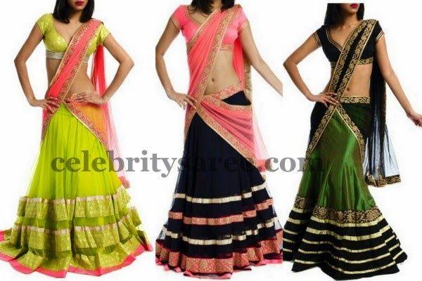 Half Sarees in Black and Green   Saree Blouse Patterns