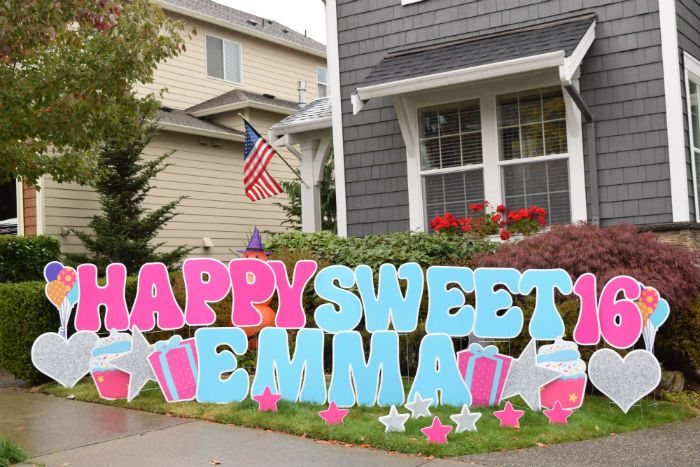 Yard Announcements Will Make Your Sweet 16th Birthday Even Sweeter With Our Birthday Yard Happy Birthday Yard Signs Birthday Yard Signs Birthday Yard Signs Diy