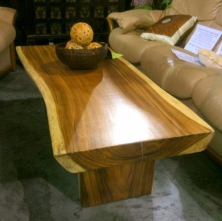 This Is A Slab Coffee Table Of Heavily Striated Acacia Wood Matching Slab Legs
