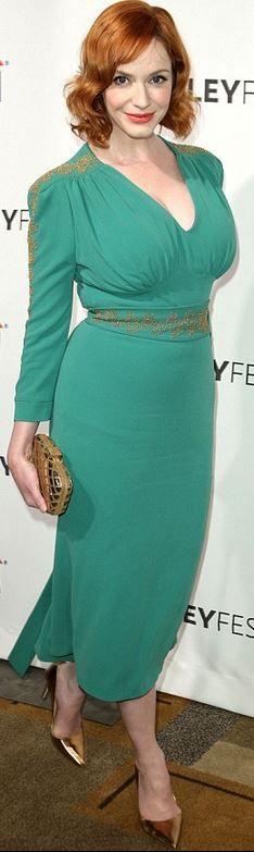 Who made Christina Hendricks' green long sleeve dress?