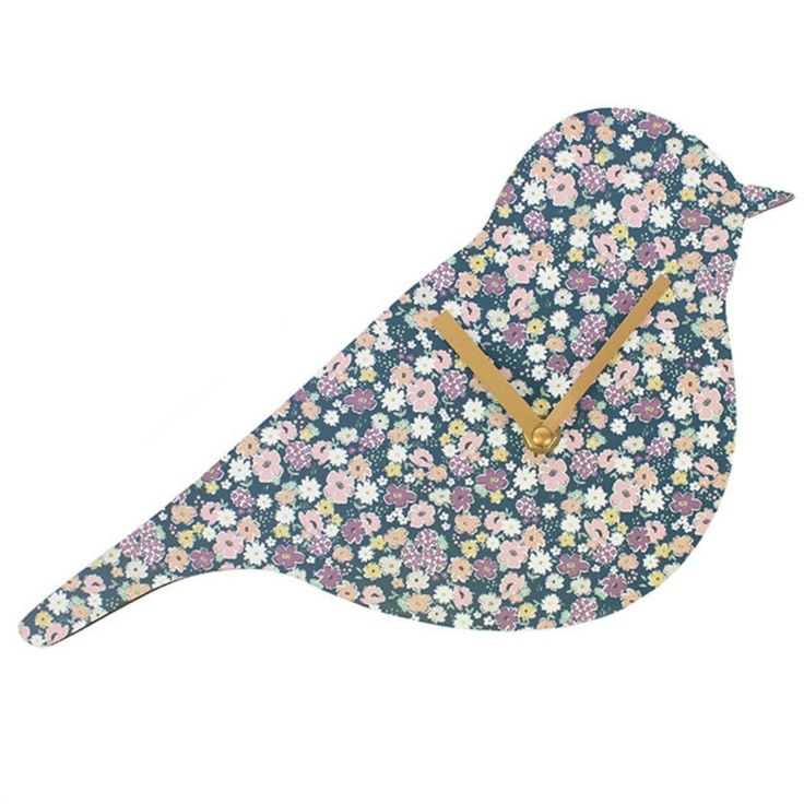 Floral Florella Print Shabby Chic Bird Shaped Small Wall Clock Home Decor Gift