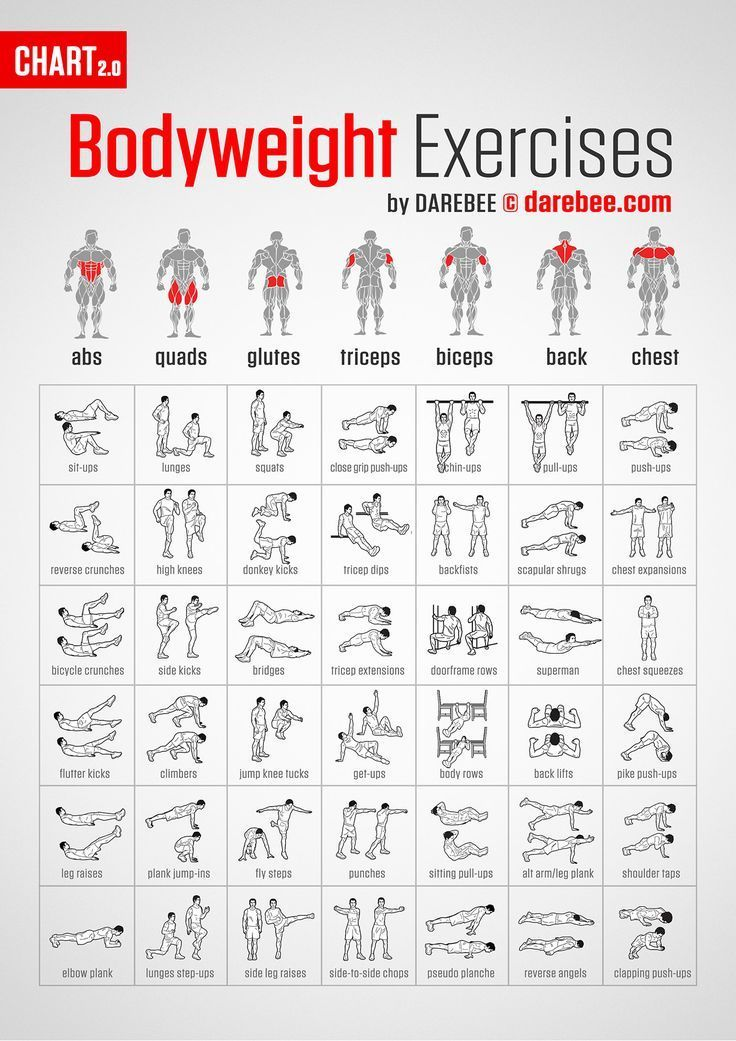 Bodyweight HIIT Exercises you can do at home. It even has a timer, just click on