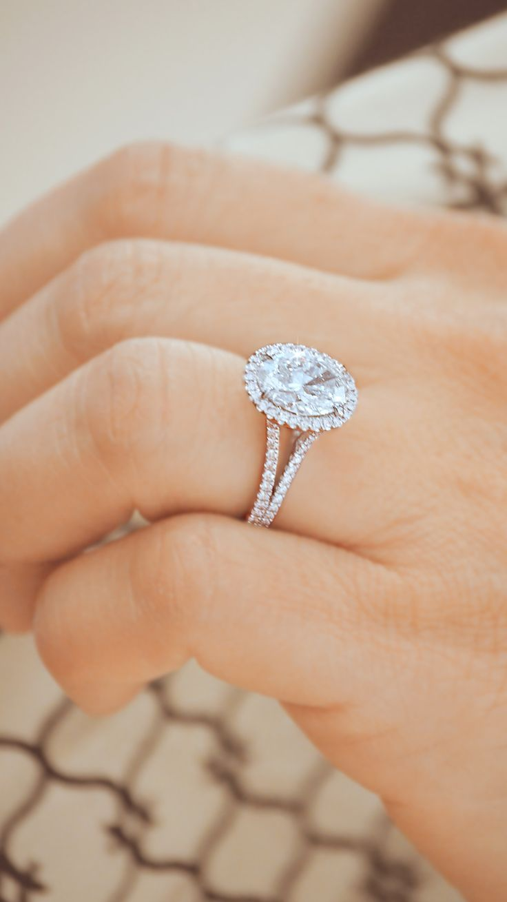 Compliments will be endless when wearing this beautiful Oval Halo Diamond Engagement Ring by Ascot Diamonds #ascotdiamonds