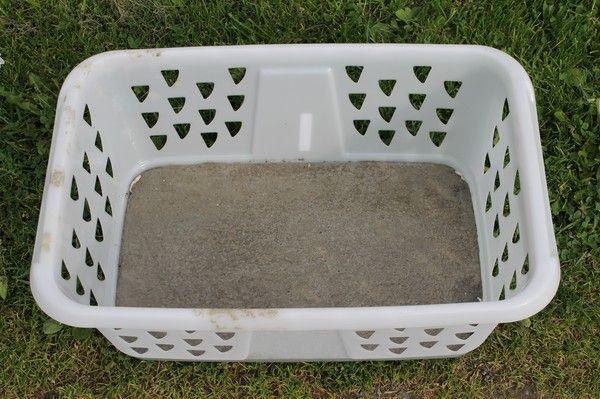 Use a laundry basket to cast large stepping stones.  She also made a texture on the side you can't see in this photo, so check out the link.