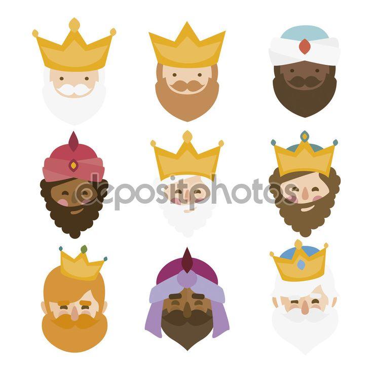 Los magos Reyes de Oriente aislado. 3 Reyes Magos. iconos conjunto de vectores