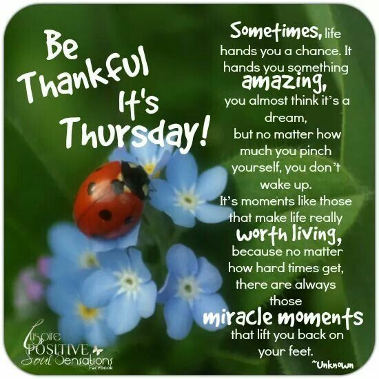 Be thankful it's Thursday
