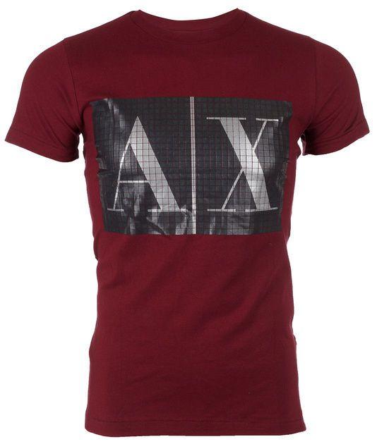 ARMANI EXCHANGE AX Mens T-Shirt BOX LOGO Slim Fit BURG Casual Designer M-XL $48 #AXArmaniExchange #GraphicTee