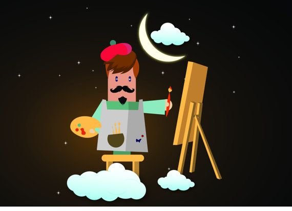 A artist creation in the cloud artist with brush artist by artfuns