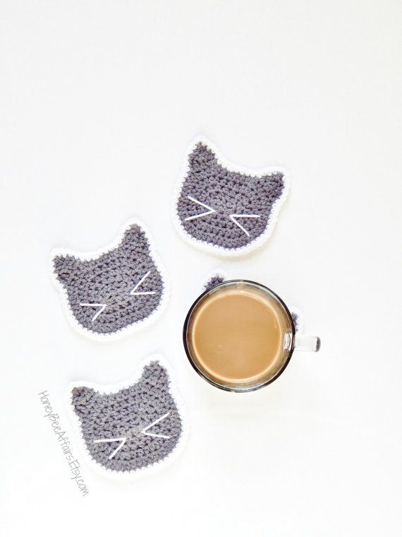 Cute Kitty Cat Coasters Set of 4 Gray and by HoneyBeeAffairs