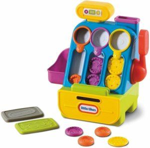 Little Tikes Count 'n Play Cash Register Educational value: Color matching, counting and number recognition. Fine motor skills needed to put in the coins and eye and hand coordination for swiping the cards. http://bit.ly/1v0Lh4Z