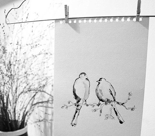 fugler by ris. Illustrasjon tegnet med blekk og penn.