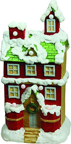 Felices Pascuas Collection 21.25 inch Christmas Morning Pre-Lit LED Snow Covered 2 Story House Musical Christmas Tabletop Figure