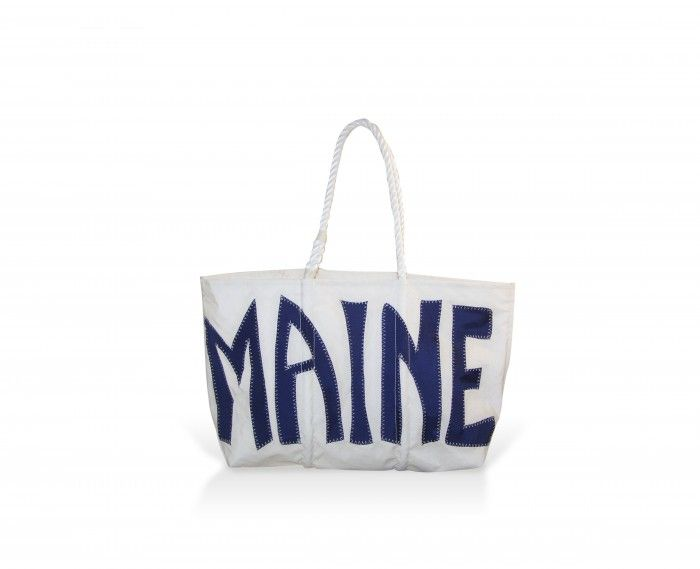 Made in Maine! Recycled sails hand made into totes.  Tons of designs. I've seen these everywhere around here, from boutiques to farm stands.  Wicked expensive though, but such a great idea, they're probably making a killing. JCrew featured these on their tumblr.