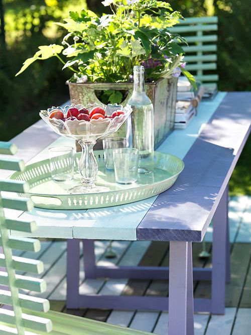 Designtjejen - Create beautiful serving pieces using vintage glass bowls or plates glued to candlestick holders
