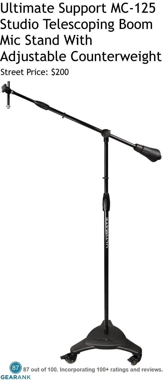 "Ultimate Support MC-125 Studio Telescoping Boom Microphone Stand w/ Adjustable Counterweight.  Height with casters is adjustable from 51.5"" to 82.75"". Boom adjusts from 35"" to 61"". Counterweight Weight: 5.75 lbs. Steel tubing. Caster Diameter: 3.75"". Cast iron base - 35 lbs. Base Diameter: 22.5"".  For a Detailed Guide to Mic Stands see https://www.gearank.com/guides/mic-stands"