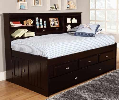 Espresso Twin Size Bookcase Captain S Day Bed With Trundle Daybed With Storage Bed With Drawers Twin Bed With Drawers Daybed with storage drawers underneath