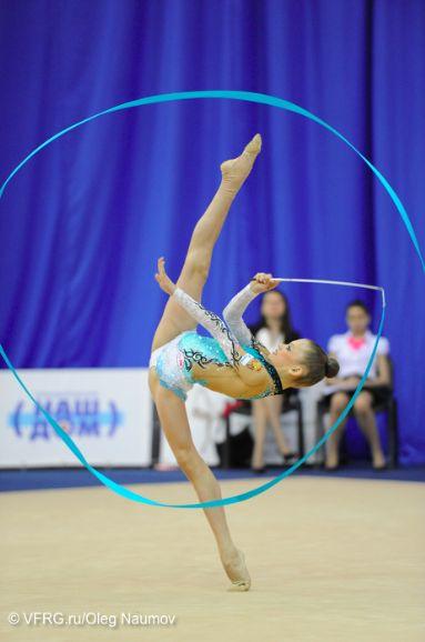 Junior performing Rhythmic Gymnastics routine