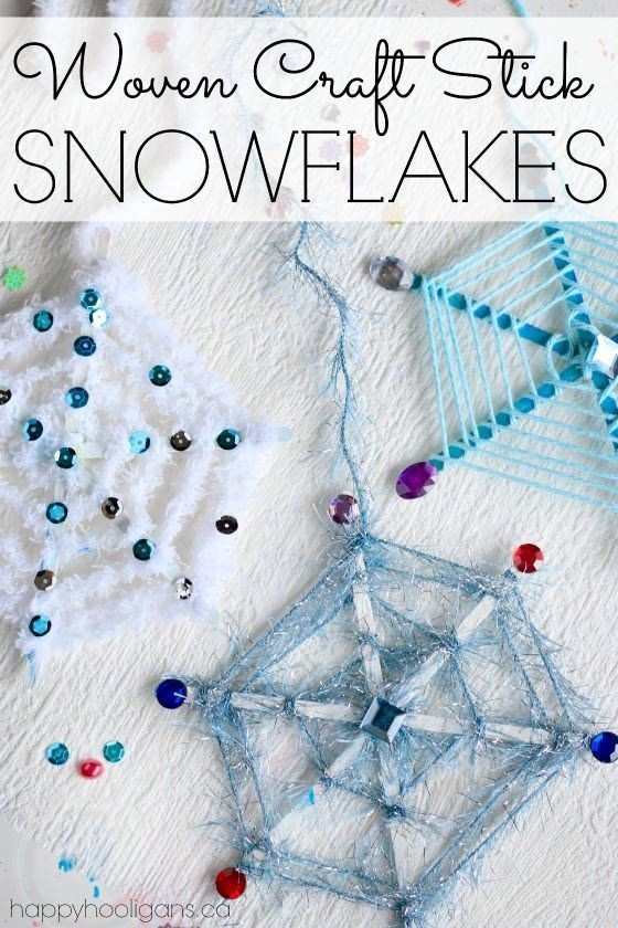 Woven craft stick snowflake ornaments with yarn, sequins and craft jewels