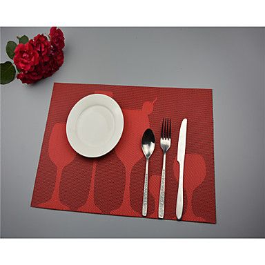 """2PCS European Style High Quality PVC Dining Coasters Table Placemats (12""""x18"""") – USD $ 6.99"""