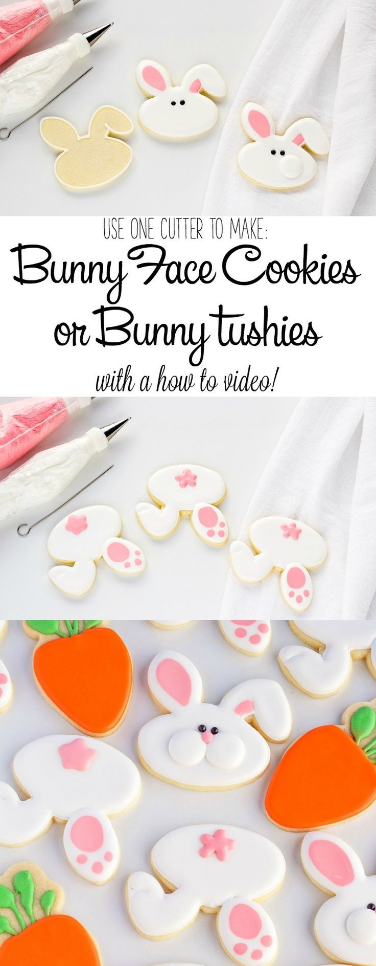 How to Use One Cookie Cutter to Make Bunny Face Cookies or Cute Little Bunny Tushies with a Video Tutorial   The Bearfoot Baker
