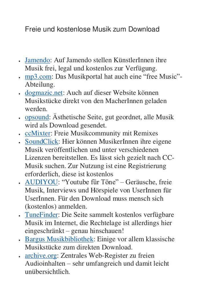 Freie und kostenlose Musik zum Download  Jamendo: Auf Jamendo stellen KünstlerInnen ihre Musik frei, legal und kostenlos zur Verfügung.  mp3.com: Das Musikpo…