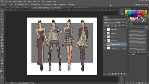 Learn to use Photoshop brushes, patterns, and special effects to create professional-looking fashion croquis and costume illustrations.