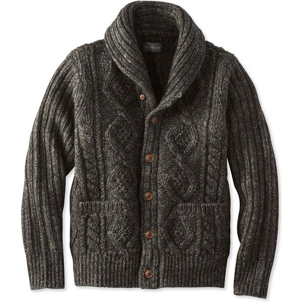 L.L.Bean Signature Signature Mapleton Wool Sweater, Shawl Collar... ($199) ❤ liked on Polyvore featuring men's fashion, men's clothing, men's sweaters, mens shawl collar sweater, mens cable sweater, mens cable knit shawl collar sweater, mens wool sweaters and mens shawl collar cardigan sweater