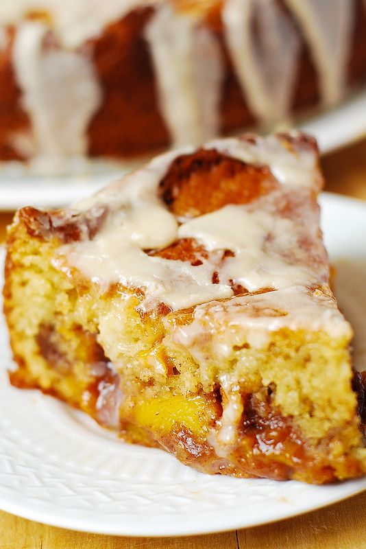 Now this is a coffee cake I just might take a bullet for-looks delicious only replace icing/glaze with heavy whipped cream - add a touch of Vanilla or Almond extract