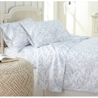 Andover Mills Jill Floral Sheet Set Size Twin Colour White Blue