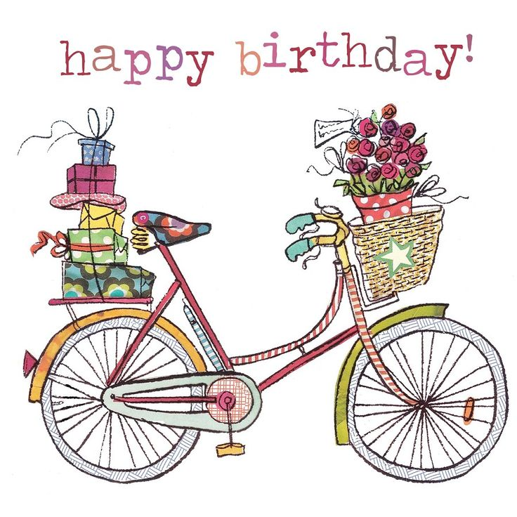 Bike Girls Toys For Birthdays : Illustrazione bicycle happy birthday referencias