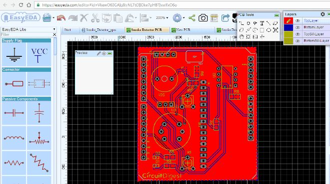 Arduino Smoke Detector Shield PCB Design
