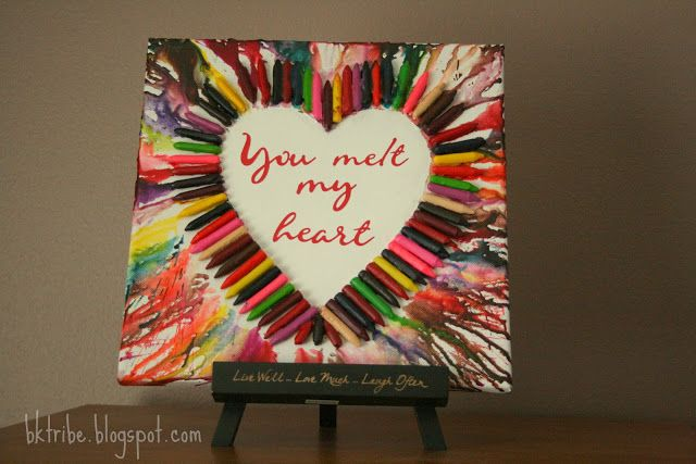 Melted Crayon Heart Art .... instructions for making this adorable art ... then just add vinyl lettering. LOVE!