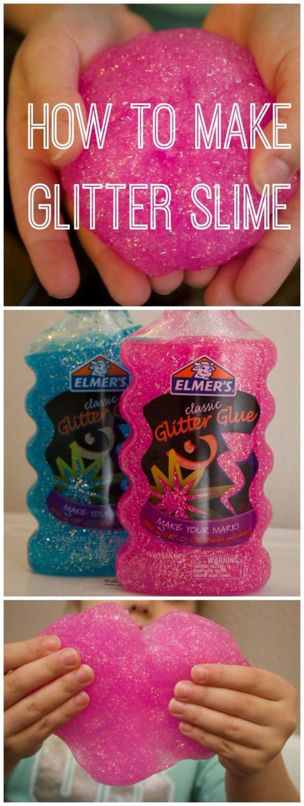 Crafts For Kids To Make At Home - 3-Ingredient Glitter Slime - Cheap DIY Projects and Fun Craft Ideas for Children - Cute Paper Crafts, Fall and Winter Fun, Things For Toddlers, Babies, Boys and Girls to Make At Home http://diyjoy.com/diy-ideas-for-kids-to-make