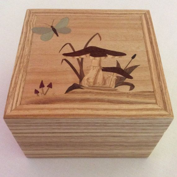 Mushroom and butterfly trinket box small jewellery box
