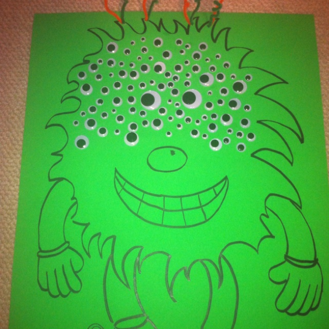100th day of school project - Fun 100 eyed Monster