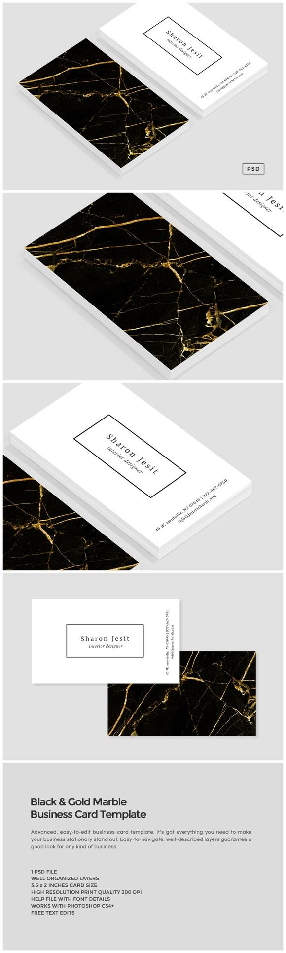 Black & Gold Marble Business Card by Design Co. on Creative Market