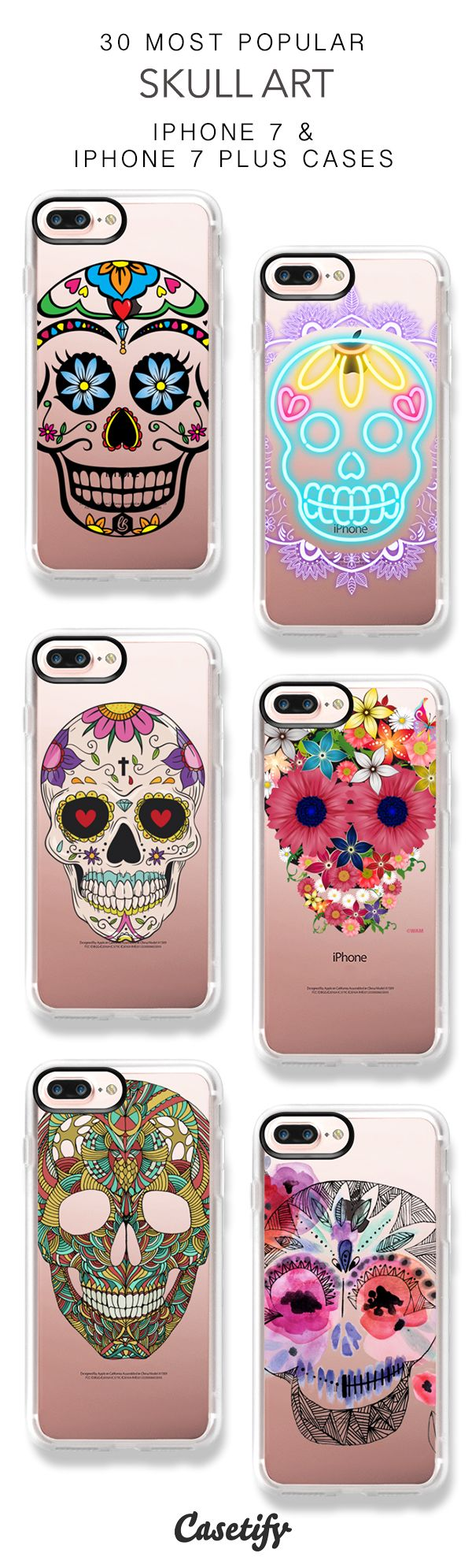30 Most Popular Skull Art iPhone 7 Cases and iPhone 7 Plus Cases. More Pattern iPhone case here > https://www.casetify.com/collections/top_100_designs#/?vc=8ni6p08MoZ