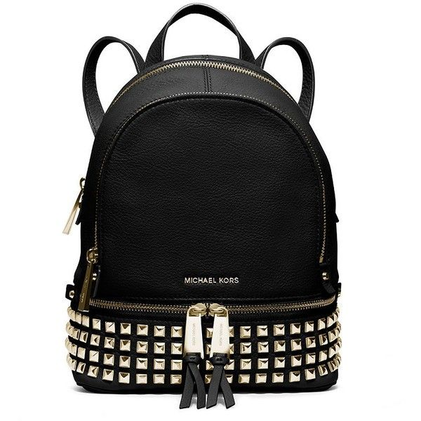Michael Michael Kors Rhea Studded Leather Mini Backpack ($258) ❤ liked on Polyvore featuring bags, backpacks, purses, black, black leather knapsack, black leather bag, black mini backpack, genuine leather backpack and pocket backpack